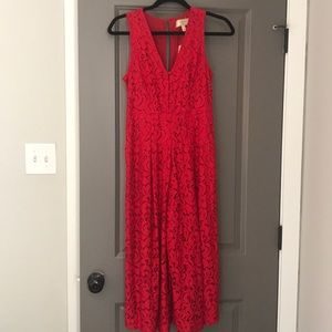 Anthropologie Red Lace Midi Jumpsuit Size 0P